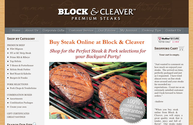 Buy steak online from BlocknCleaver.com