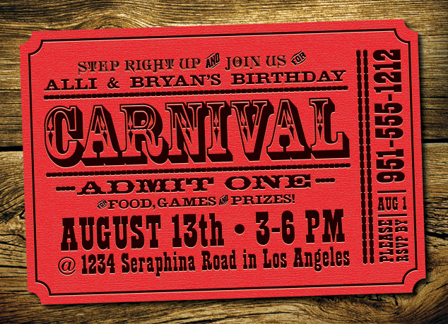 kid's/Child's Carnival invitation