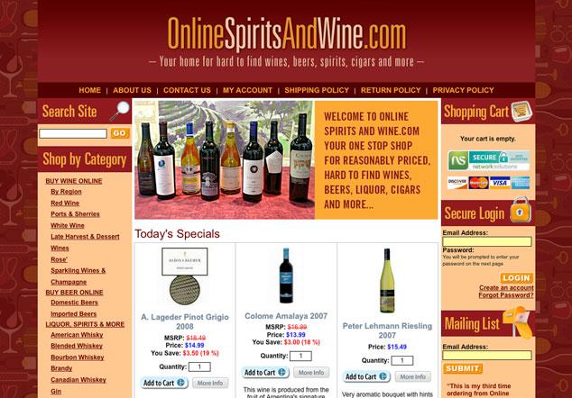 OnlineSpiritsAndWine.com home page