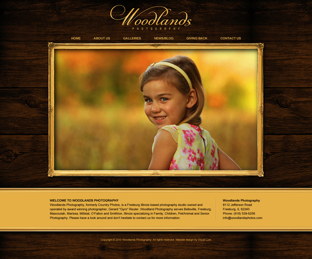 proposed Woodlands Photography website design