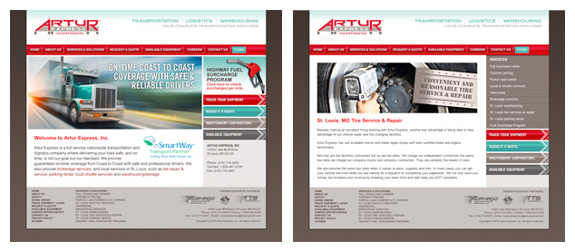 Artur Express new website design