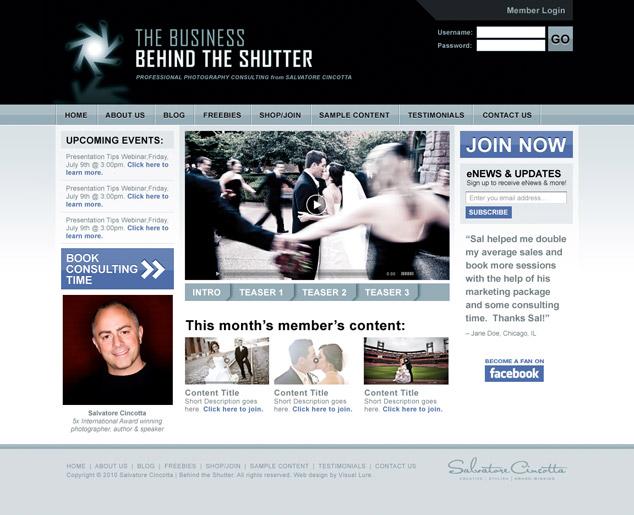 BehindTheShutter.com web design