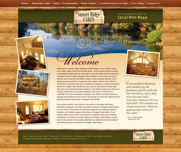 Sunset Ridge Cabin web design