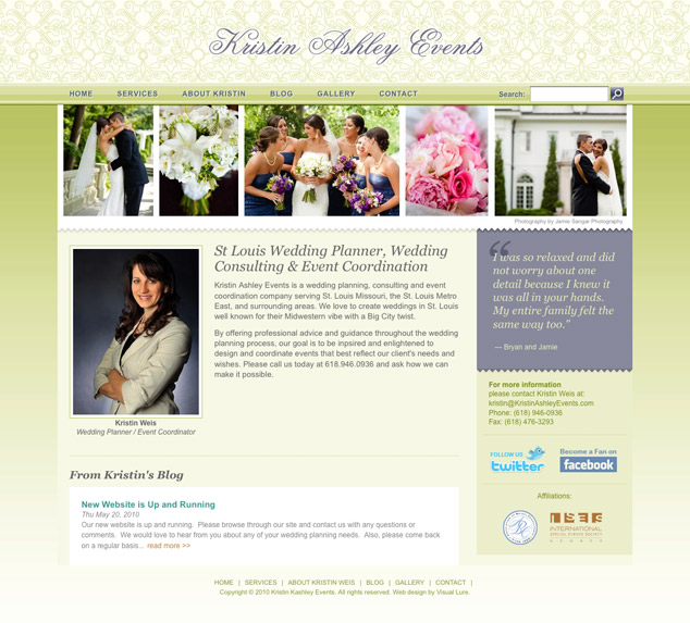 Kristin Ashley Events Web Design