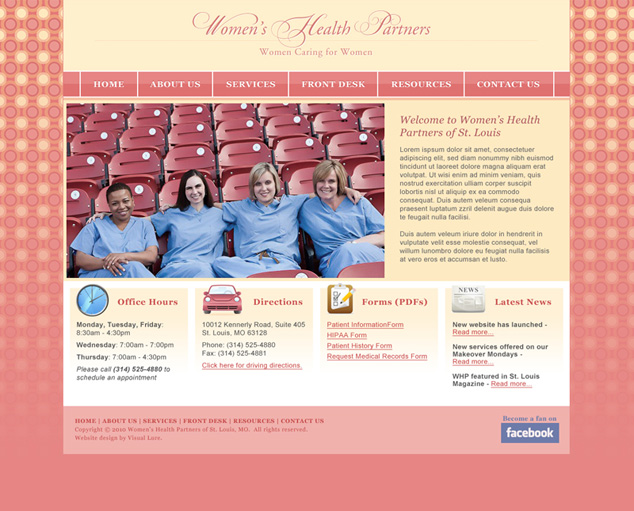 Women's Health Partner's Proposed Home Page Design