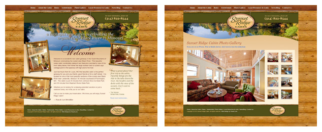Sunset Ridge Cabin website design