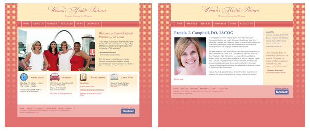 Women's Health Partners of St. Louis website design