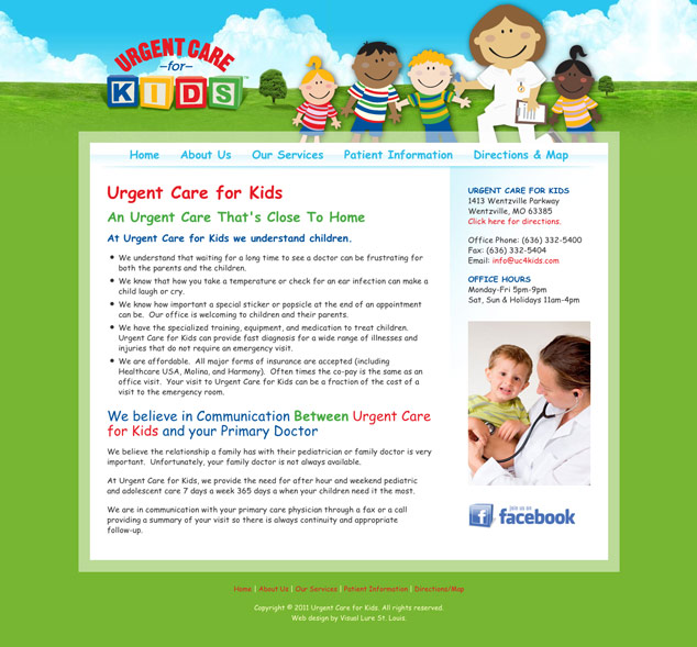 Urgent Care for Kids St. Louis Web Design