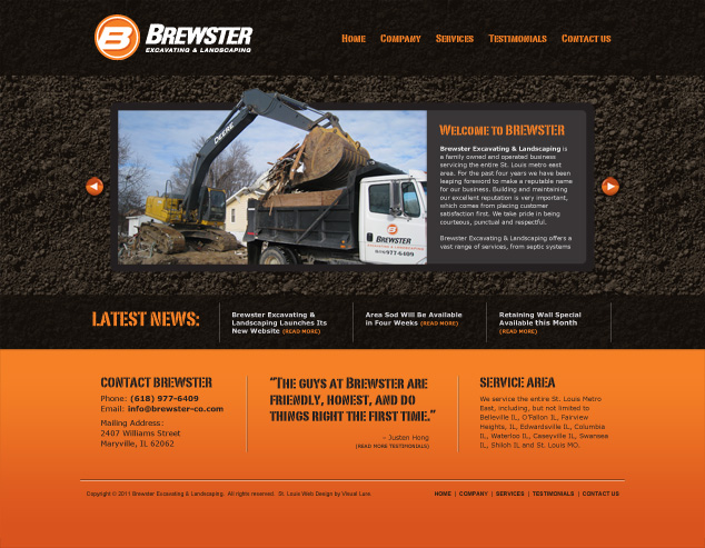 St Louis web design for excavating & landscaping company
