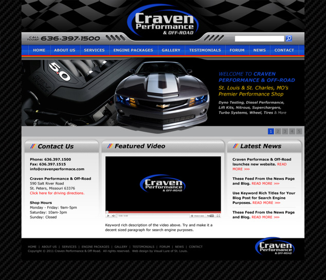St. Louis web design for auto performance company