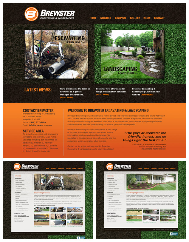 St. Louis Metro East Website Design for Brewster Excavating & Landscaping
