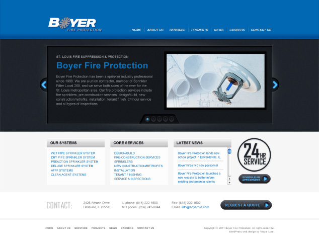 St. Louis fire protection contractor Word Press web design