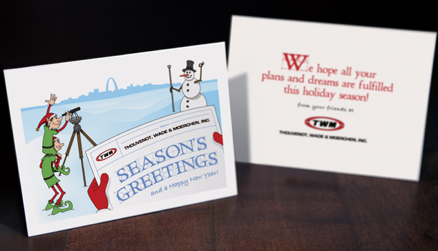 graphic design - custom illustration christmas card for engineering firm