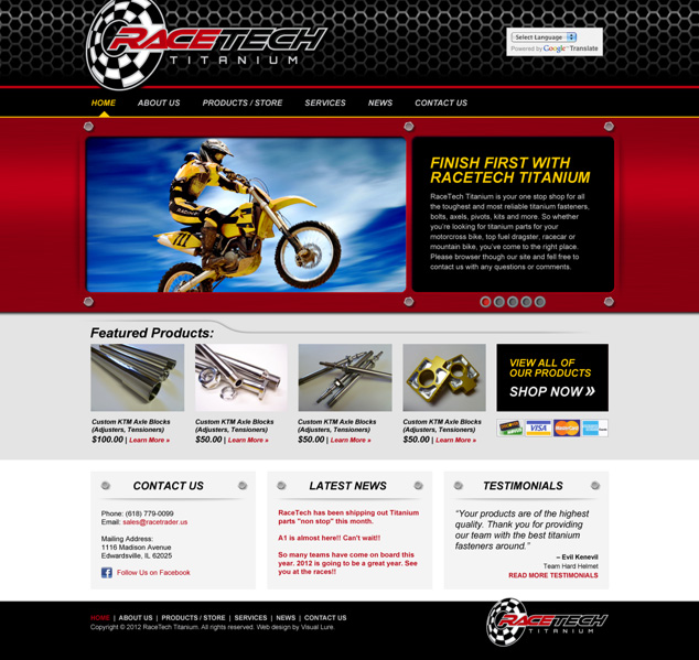 Word Press web design & zen cart ecommerce web design for RaceTech Titanium