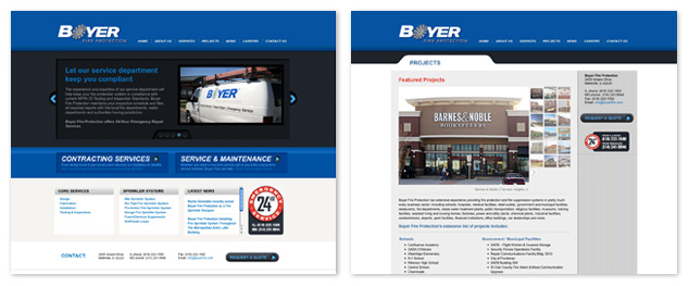 new WordPress website design for Boyer Fire Protection