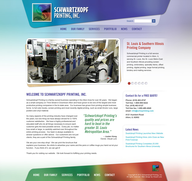 St. Louis WordPress web design for Alton IL printer