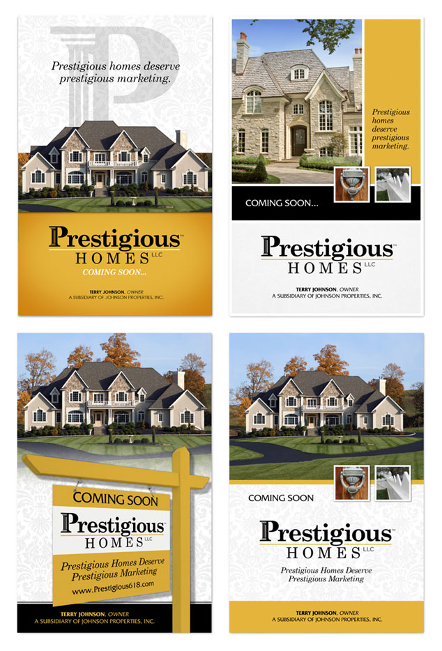 Prestigious Homes graphic design ad options