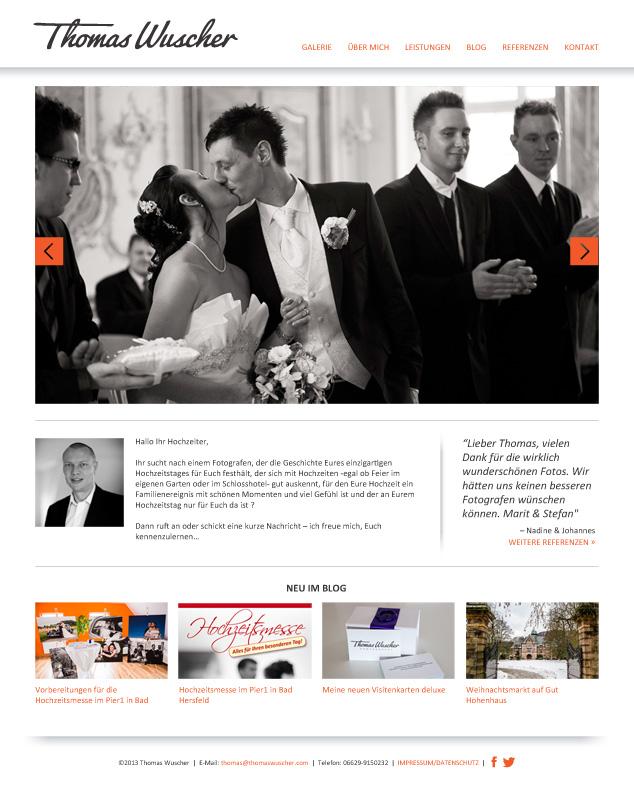 Custom WordPress Web Design for German photographer