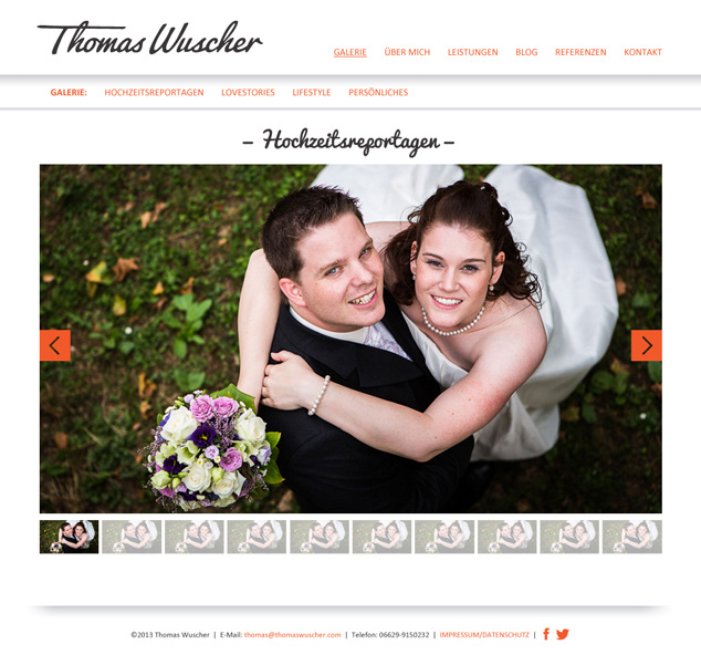 Custom WordPress Web Design slideshow for German photographer