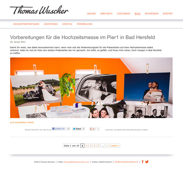 Custom WordPress Web Design blog for German photographer