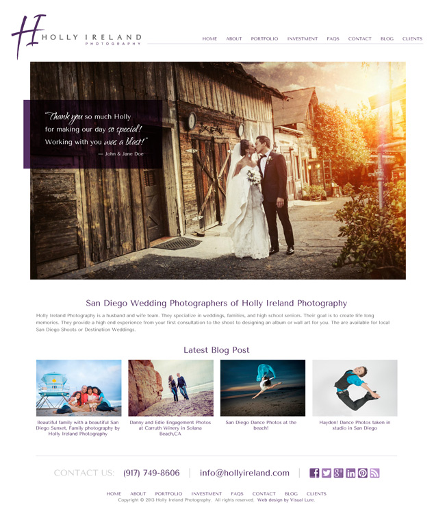 San Diego Photography WordPress Web Design for Holly Ireland Photography