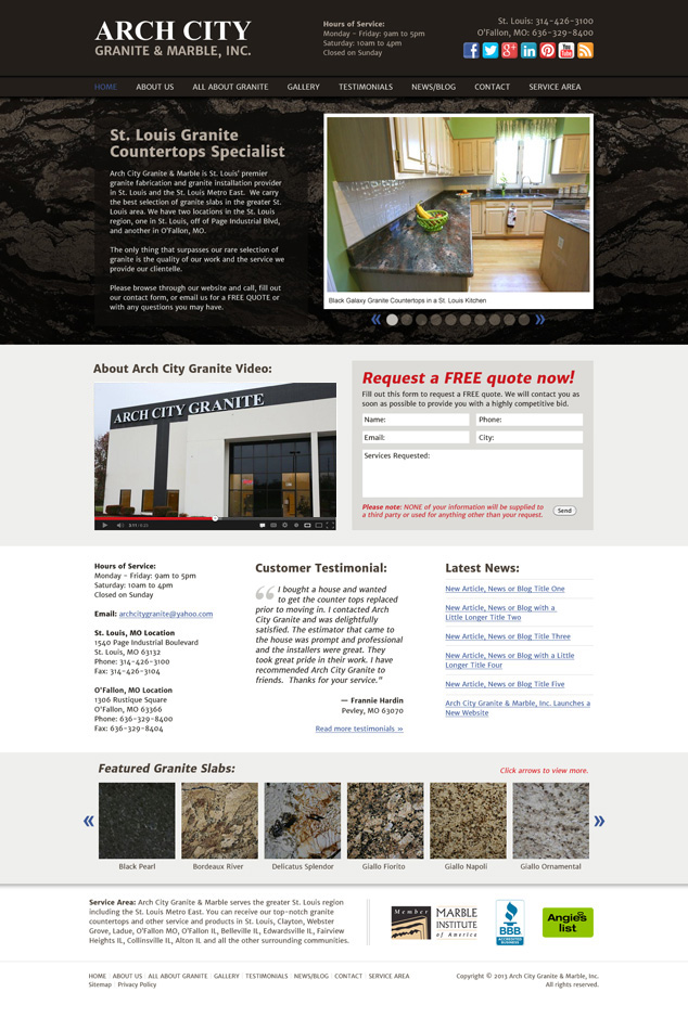 St. Louis web design for Arch City Granite