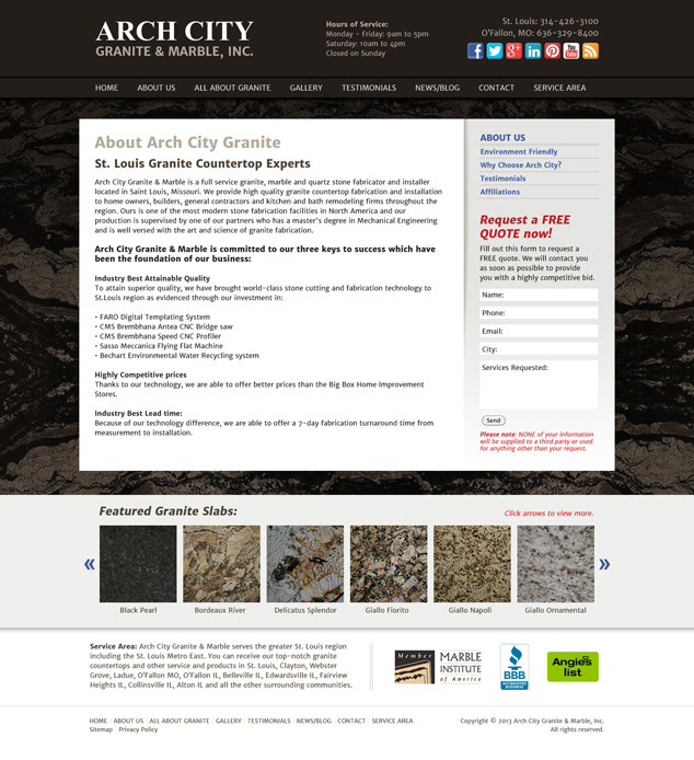 web design st. louis for Arch City Granite