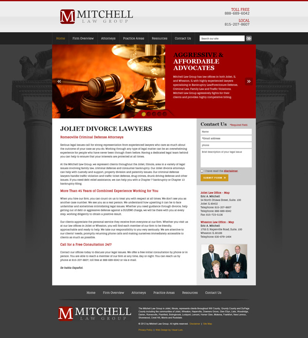 Chicago Lawyer WordPress web design home page