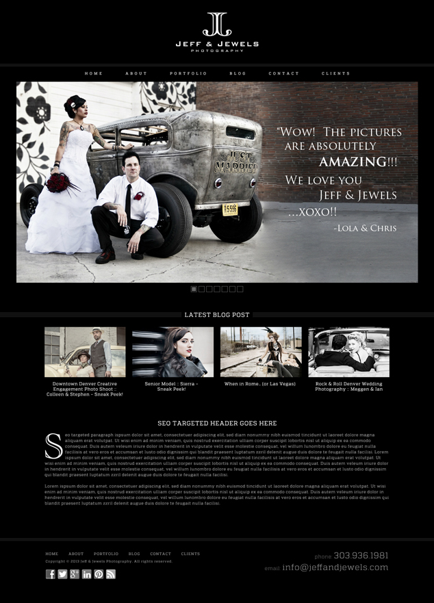 photography WordPress web design home page comp