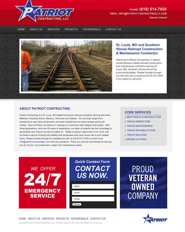 St. Louis web design for Patriot Contracting in WordPress