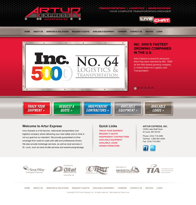 St. Louis web design of Artur Express homepage