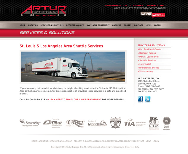 St. Louis web design for Artur Express subpage