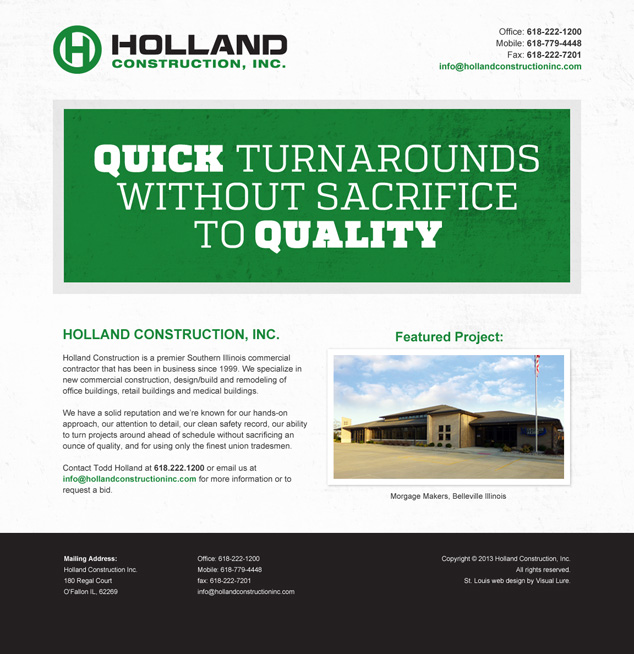 st louis web design for Holland Construction, Inc.