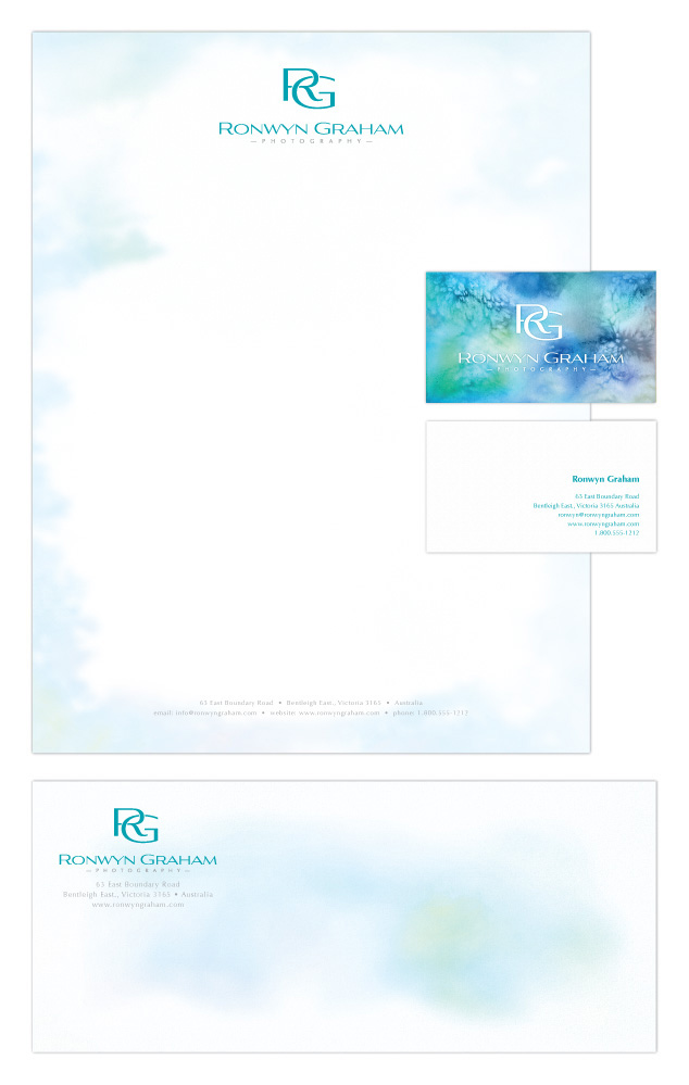 letterhead design, identity design for Ronwyn Graham photography