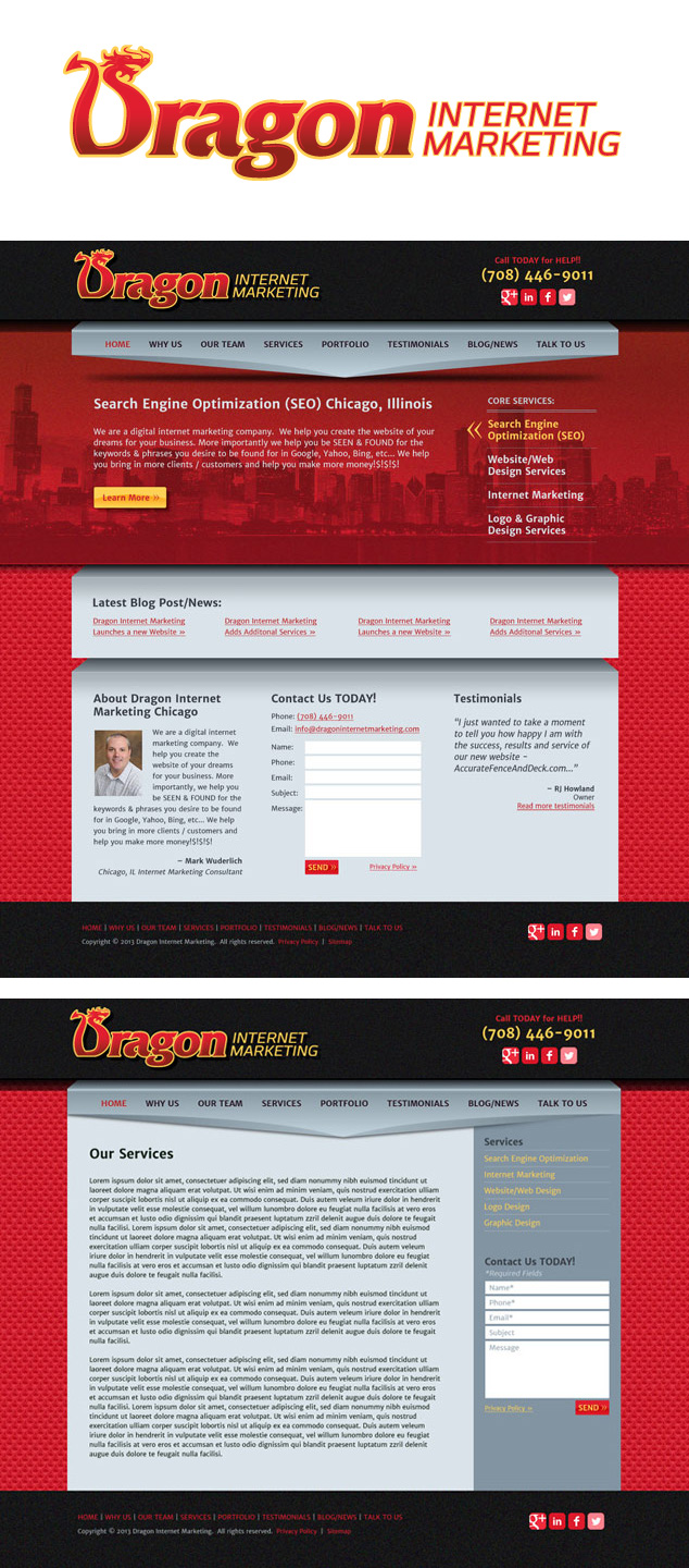 Chicago IL logo & web design for Dragon Internet Marketing