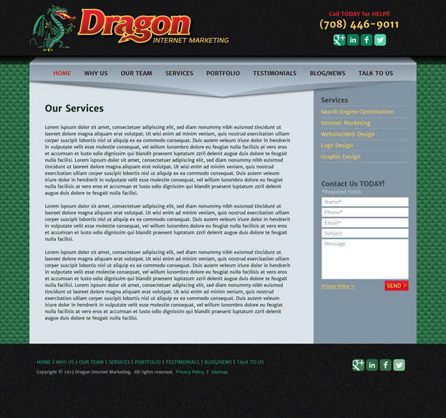 Chicago WordPress design for Dragon Internet Marketing