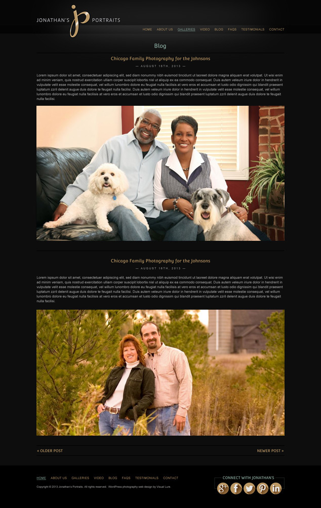 WordPress web design blog page for Jonathan's Portraits