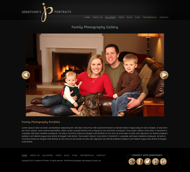 WordPress web design portfolio page for Jonathan's Portraits