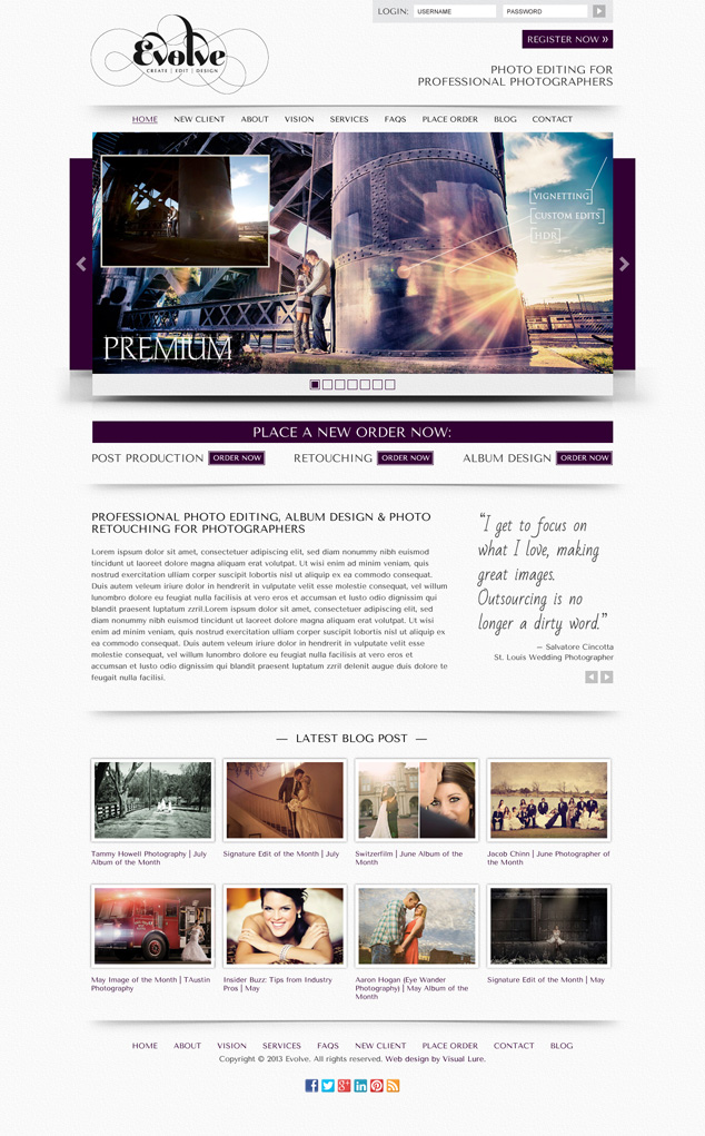 home page web design for Evolve