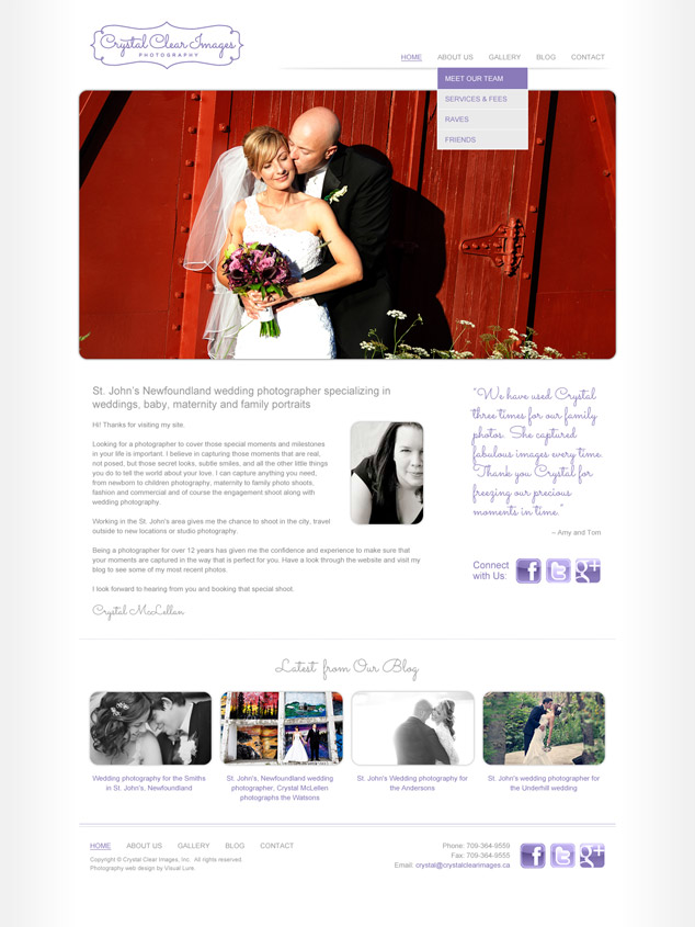 crystal's photography home page design