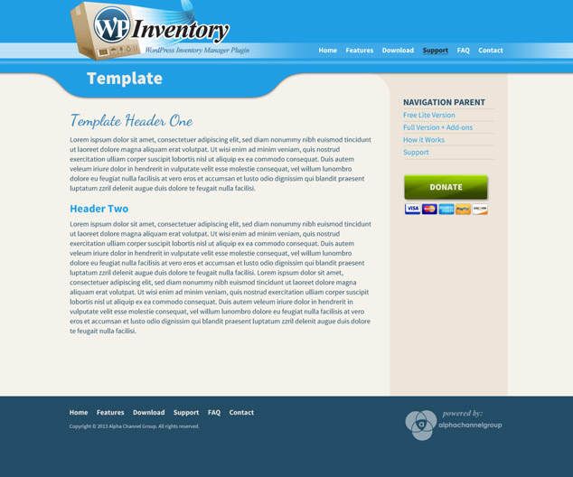 WordPress inventory template page design