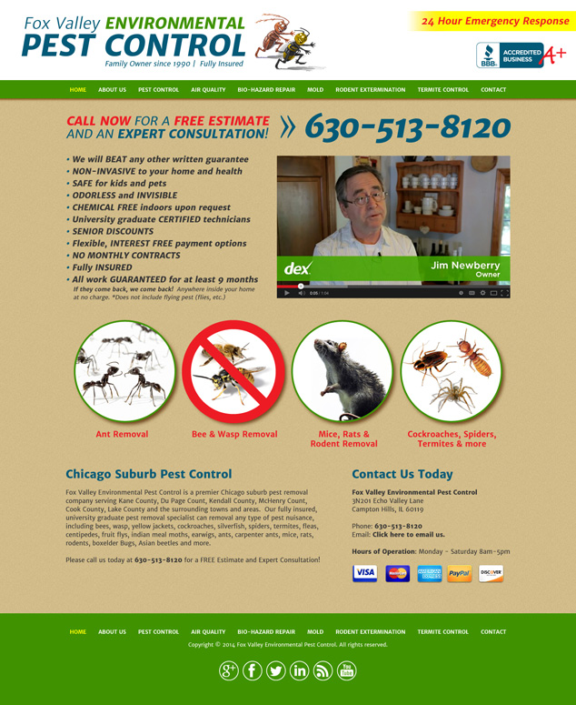 Chicago IL web design pest control