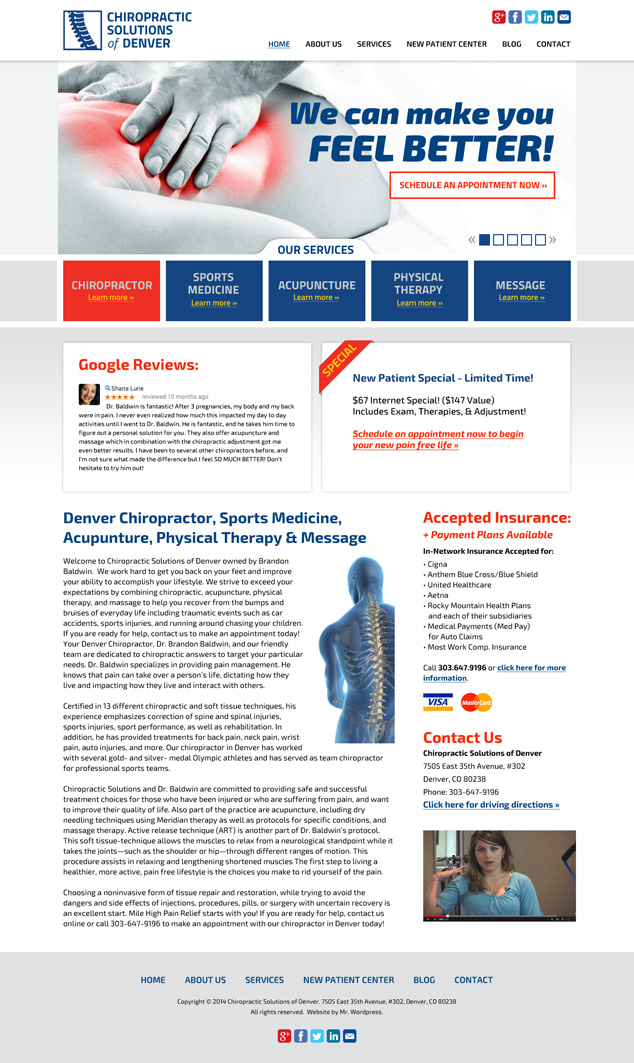 Denver web design Chiropractor