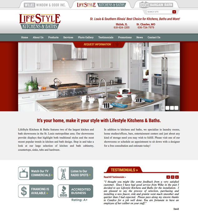 kitchen web design. Lifestyle Kitchens  Baths St Louis WordPress web design Archives Visual Lure