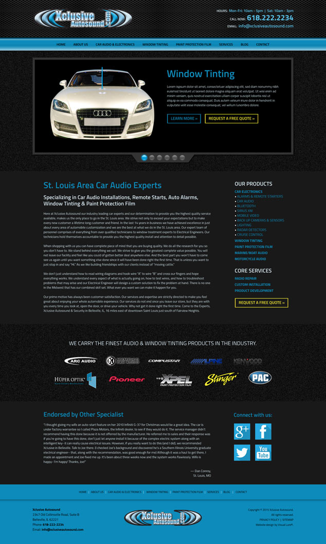 xclusive autosound's new home page web design