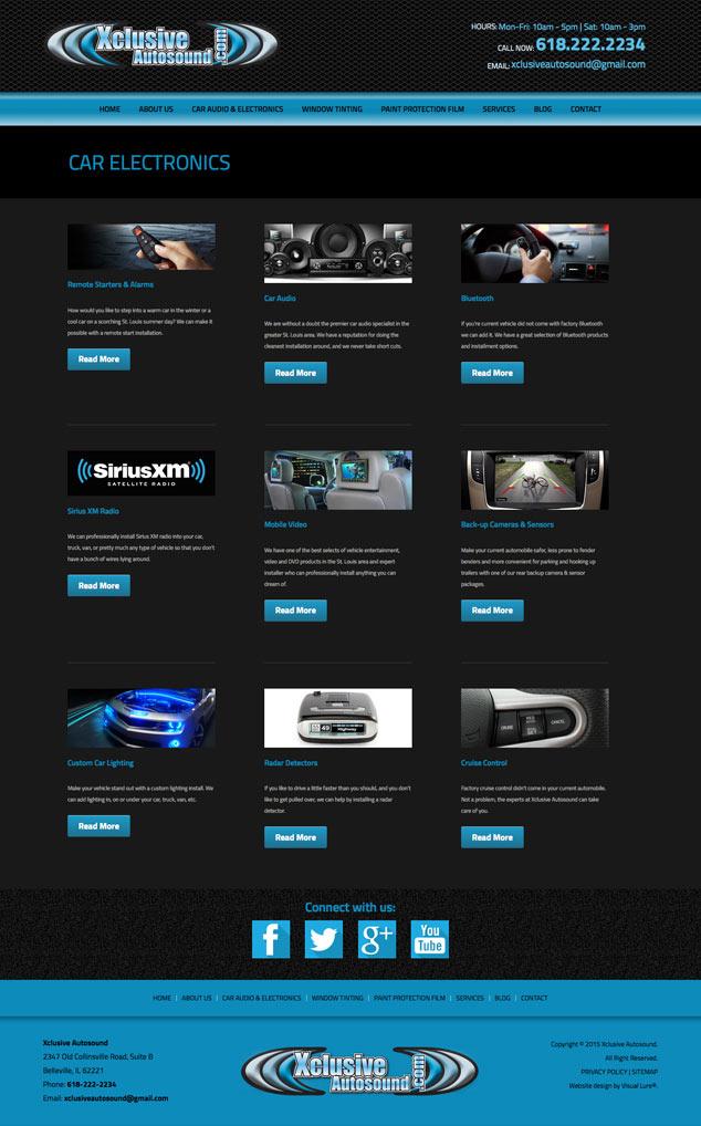 xclusive autosound's electronics website design