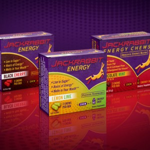Package design for three different flavors of energy chews