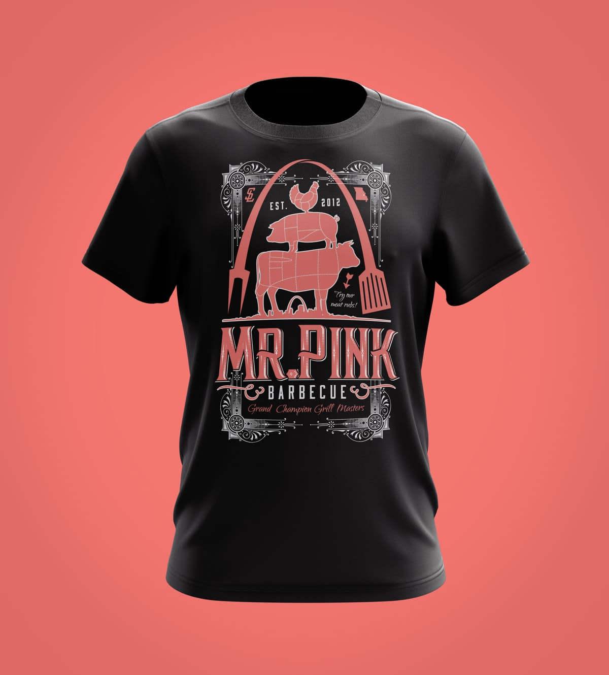 Mr. Pink Vintage T-shirt Design 2