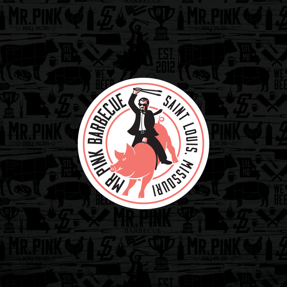 Mr. Pink BBQ secondary logo design mark