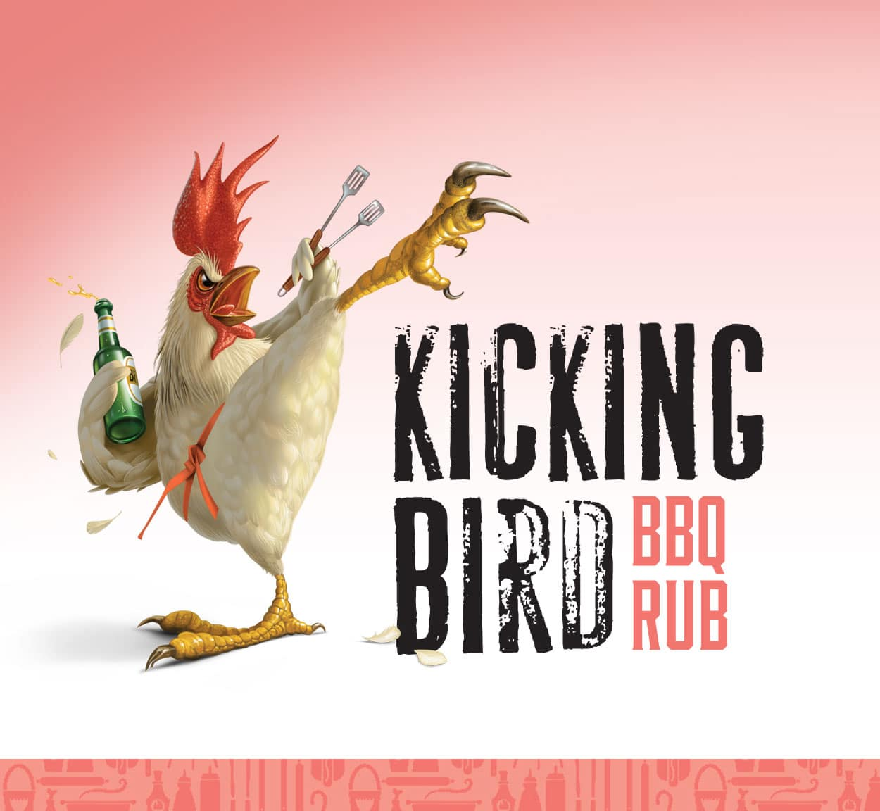Mr. Pink Kicking Bird BBQ Rub Branding